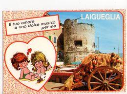 U2413 Cartolina LAIGUEGLIA (savona, Liguria) MULTIPLA ILLUSTRATA CON COPPIA DI BAMBINI ENFANT KINDER _ NN CIRC, - Italia