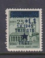Venezia Giulia And Istria 1945 Yugoslav Trieste Occupation S2 1l On 25c Green Mint Hinged - Yugoslavian Occ.: Trieste