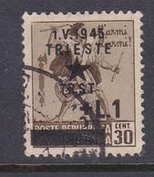 Venezia Giulia And Istria 1945 Yugoslav Trieste Occupation S3 1l On 30c Brown Used - Yugoslavian Occ.: Trieste