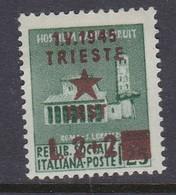Venezia Giulia And Istria 1945 Yugoslav Trieste Occupation S7 2 Lire+ 2 Lire On 25c Mint Hinged - Yugoslavian Occ.: Trieste