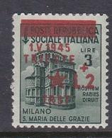 Venezia Giulia And Istria 1945 Yugoslav Trieste Occupation S8 2 Lire On 3 Lire Green Mint Hinged - Yugoslavian Occ.: Trieste