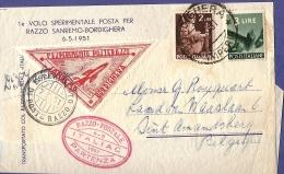 Italia, Rocket Mail Posta Razzo Sanremo-Bordighera 6-5-1951 Stamped 5 Lira, Bordighera, 8-5-51 And Amsterdam 15.V.1951 - Other (Air)