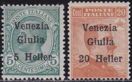 VENEZIA GIULIA 1919 VEIII Serie Sovrastampata 2v Gomma Integra  , MNH** - 8. WW I Occupation