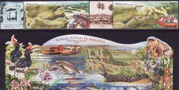 Malaysia 2018-4 Rivers Set+M/S MNH Flora Fauna Bird Fish Boat Reptile Crocodile Monkey Butterfly Pitcher Unusual - Malesia (1964-...)