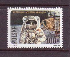 POLOGNE 1989 1er HOMME SUR LA LUNE  YVERT N°3017   NEUF MNH** - Unused Stamps