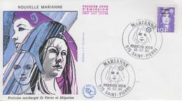 Enveloppe  FDC  1er Jour   SAINT  PIERRE  ET  MIQUELON   MARIANNE  Du   BICENTENAIRE   1990 - FDC