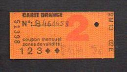 """Ticket Transport,Métro, Bus,Autobus,Chemin De Fer,Tramway Ou à Identifier  """"Carte Orange. """" Classe 2 Fév. 1976 - Titres De Transport"""
