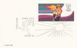 USA Postal Stationary 1984 Los Angeles Olympic Games - Toledo   Olympic Torch Station   (G91-8) - Summer 1984: Los Angeles