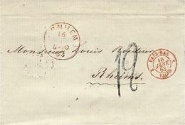 1863- Letter From ARNHEIM To Reims ( France )entrée:  PAYS-BAS 2 VALnes  Rouge + Taxe 12 D. TAMPON - 1849-1876: Période Classique