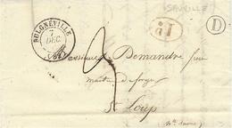 1842- Lettre De BULGNEVILLE ( Vosges ) Cad T 15 + I D +D  Boite Rurale De  Sauville  Pour St Loup - Postmark Collection (Covers)