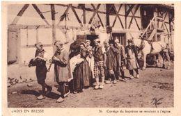 Jadis En Bresse Cortège Du Baptème Se Rendant à L'église - France