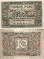 ALLEMAGNE/GERMANY/N°67a Billet De  10 Mark Du 6.2.1920. Vert Foncé Et Noir Sur L'empreinte Olive - [ 3] 1918-1933 : Weimar Republic