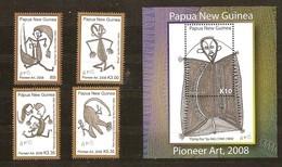 Papouasie Papua New Guinea 2008 Yvert 1219-1222 Et Bloc 48 *** MNH Cote 21,85 Euro Art Dessins Kunst - Papouasie-Nouvelle-Guinée