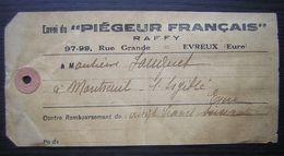 Evreux, Collier Recommandé Du Piégeur Français Raffy Pour Montreuil L'argillé (Eure), Date Illisible - Postmark Collection (Covers)