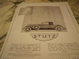 ANCIENNE PUBLICITE VOITURE AUTO  STUTZ 1928 - Cars