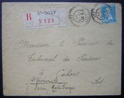 Saint-Sozy (LOT) 1929 Joli Cachet Sur Lettre Recommandée Pour Le Président Du Tribunal Des Pensions à Cahors - Poststempel (Briefe)