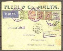 1921 Malta STORIA POSTALE Busta MALTA - BOLOGNA Viagg. Aerea Affr.1928/30 Bollo Transito ROMA - Malta