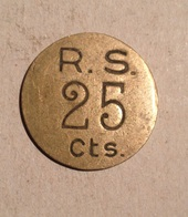 TOKEN JETON GETTONE R.S. 25 CENT. - Monetari / Di Necessità