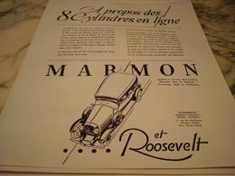 ANCIENNE PUBLICITE VOITURE ROOSEVELT MARMON 1929 - Voitures