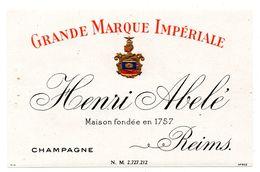 Etiquette Champagne Reims Henri Abelé Marque Impériale - Vieux Papiers