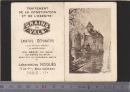 Calendrier - Petit Format - 1938 - Laxatifs Grains De Vals - Laboratoire Nogues - Santé - Kalenders