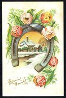 BONNE ANNEE - GELUKKIG NIEUWJAAR - Fer à Cheval, Fleurs Et Paysage Hivernal - Circulé - Circulated - Gelaufen - 1954. - Nouvel An