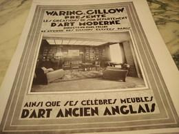 ANCIENNE PUBLICITE MAGASIN DE WARING GILLOW  1929 - Publicidad