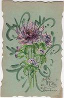 CPA -  Carte Fantaisie Gaufrée - Fleurs Dalhia - Flores