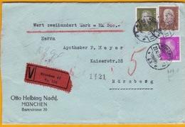 1930 - Lettre Chargée De Munich Vers Nurenberg 200 DM - Affrt  90 Pf -  Cad Arrivée - Sceau OHN - Germany