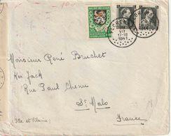 "WO 2 : CENSUUR BRIEF Met PZ (B) ""FLORENNES 26.VII.1941"" Naar SAINT MALO + Censuur (D) - Weltkrieg 1939-45"