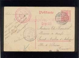 Entier Postal Allemand Cachet Rouge Kriegsgefangenensundu Ng Geprüft En 10/1914 & KGL Treups Generalkommando VII Arm - Military Service Stampless