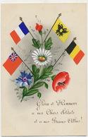 Carte Peinte Main Drapeaux France Russie Belgique Grande Bretagne Coquelicot Bleuet - Patriotiques