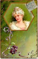CPA Fantaisie Femme Girl Women Gaufré Embossed Romantisme Circulé Art Nouveau - Donne