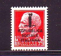 ITALIA REGNO ITALY KINGDOM 1944 REPUBBLICA SOCIALE ITALIANA   R.S.I   0,75 Cent .   MNH** - Nuovi