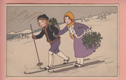 OLD POSTCARD - CHILDREN - HAPPY NEW YEAR WINTERSPORT - SKI - - Illustratori & Fotografie
