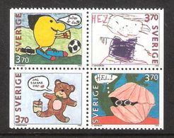 Sweden 1995 Greeting Marks: Children's Drawing  Mi 1894-1897 In Bloc Of Four From Booklet 206   MNH(**) - Neufs