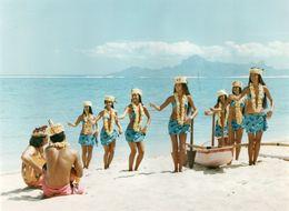 712Ma  Tahiti Grande Photo Originale (29cm X 22cm) Années 70 Vahinées Danse Pirogue Sur Plage - Tahiti