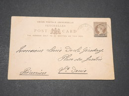 SEYCHELLES - Entier Postal Surchargé Pour Saint Denis De La Réunion En 1903 - L 14374 - Seychelles (...-1976)