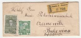 Austria, Small Letter Cover Registered Travelled 1910 Olomouc (Olmütz) To Czernowitz B180301 - 1850-1918 Impero