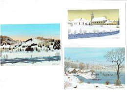 Lot 3 Cpm Illustration Denis Bauquier Paysage Neige Canard - Autres Illustrateurs