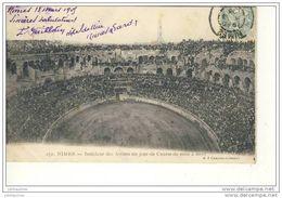 NIMES INTERIEUR DES ARENES UN JOUR DE COURSE MISE A MORT CPA 1905 - Nîmes