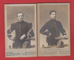 Lot De 2 Photos   -  Soldats Français  -  Atelier A Charpentier  --  Le Creusot - War, Military