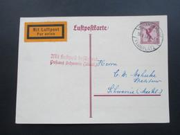 DR 1926 Flugpost GA / Luftpostkarte P 168 Hamburg Fuhlsbüttel Flugplatz. Mit Luftpost Befördert Postamt Schwerin (Meckl) - Briefe U. Dokumente