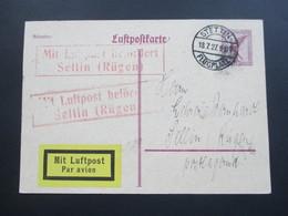 DR 1927 Flugpost GA / Luftpostkarte P 168 Stettin Flugplatz. Roter R2 Mit Luftpost Befördert Sellin (Rügen) Postlagernd - Briefe U. Dokumente