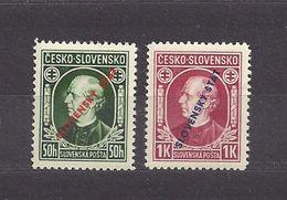 "Slovakia Slowakei 1939 MNH ** Mi 24-25 Sc 24-25 A.Hlinka Overprinted, Mit Aufdruck ""SLOVENSKY STAT"". - Slovakia"