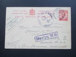 GB 1915 Prisoner Of War GA London - Celle Lager. Corps Congolais. R1 Berlin N.3 Post Free P.C. - 1902-1951 (Könige)