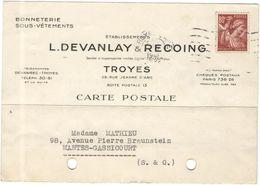 FRANCIA - France - 1941 - 80c Iris - Carte Postale - Etablissements L.Devanlay & Recoing - Bonneterie - Viaggiata Da Tro - 1939-44 Iris