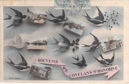 78 - CONFLANS STE HONORINE : Multivues Fantaisie Sépia Colorise ( Hirondelles ) ... CPA  -Yvelines - Conflans Saint Honorine
