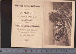 Calendrier - Patit Format - 1950 - Mercerie Massé à Ancenis 44 - Attelage Agriculture, Foin - Calendriers