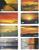 8 Télécartes Brésil  Coucher De Soleil (D 292) - Paysages